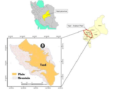 3. Materials and Methods 3.1. Study area Yazd-Ardakan watershed has area about 1595000 ha which is located in Northern part of Yazd Province and included 12.3% of 13 million ha area of the province.