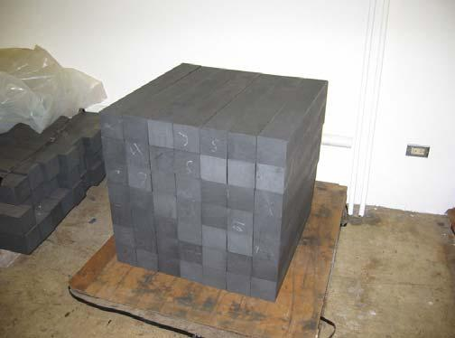 In this experiment, a 70 x 70 x 70 cm reactor-grade graphite structure is exposed to the neutron beam.
