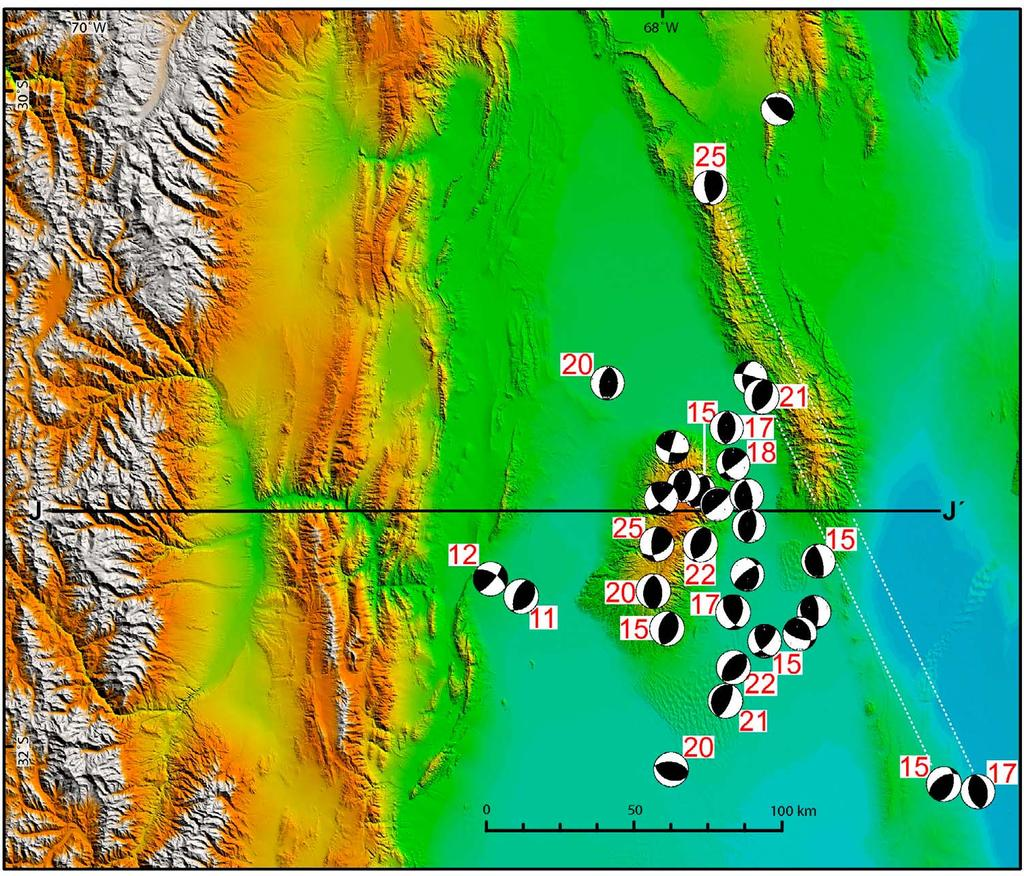Figure 20. Map view of the Sierras Pampeanas at 31 S. The black line and end labels illustrate the location of the cross section shown in Figure 21.