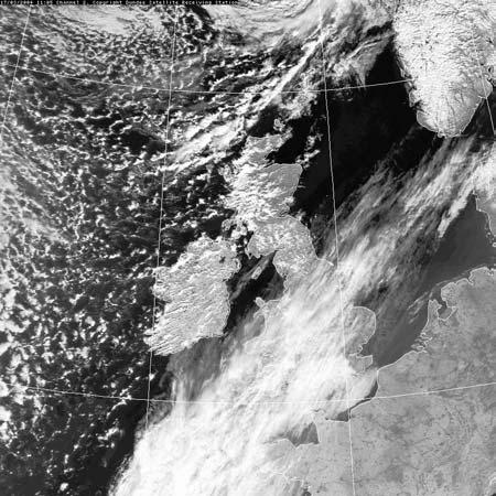 The cold front which was associated with the depression to the north of the British Isles moved south-eastwards during the day, followed by showers of rain over Ireland, Scotland and western Norway.