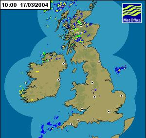 3. THE WEATHER OVER THE BRITISH ISLES ON 17 MARCH The weakness of the cold front can be seen from the sequence of radar images shown in Figure 5.