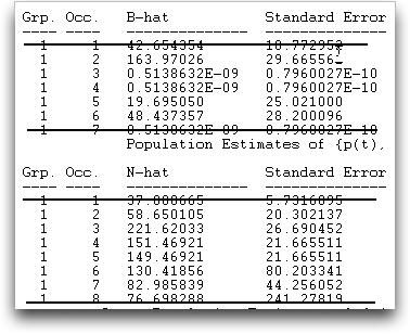 12.4.1. POPAN formulation 12-18 The estimates of population size and net births are found under the derived parameter section: Again, not all parameters are identifiable.