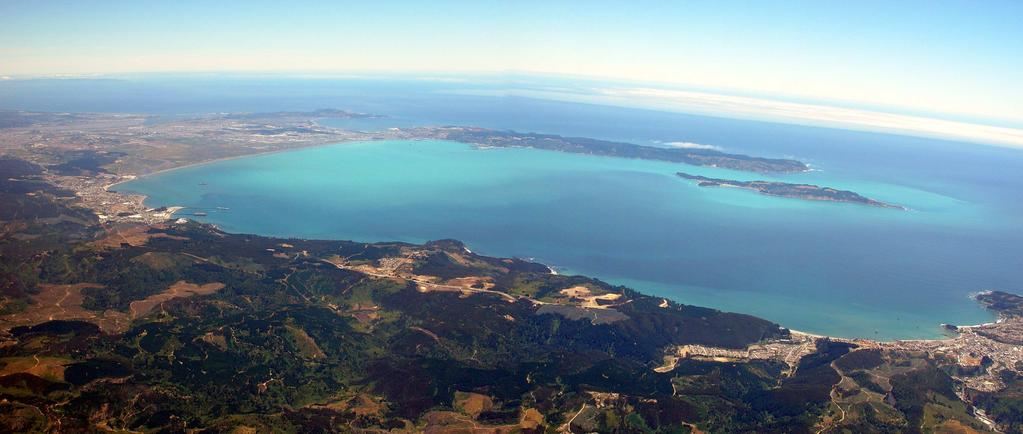 The photograph shows the inter-annually recurrent turquoise color of the Bay of Concepcion during the austral summer of 2003. Photo Didier Rousseau, Jan. 14, 2003. Fig. 4.