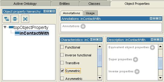 55 After creating an object property, its characteristic (Functional, Inverse functional, Transitive, Symmetric, etc) may then be specified by checking the appropriate box by the different property