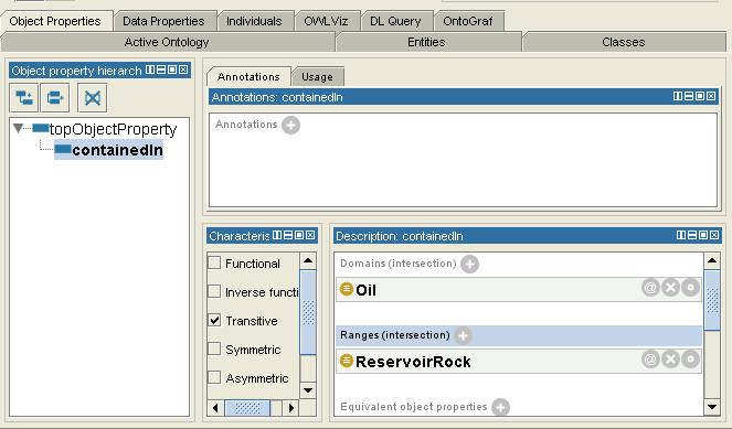 59 Figure 6.17. Screen shot showing the Domain and Range of the containedin property. 6.2.4 The OWLViz tab OWLViz is a visualization plugin for the Protégé OWL Plugin.