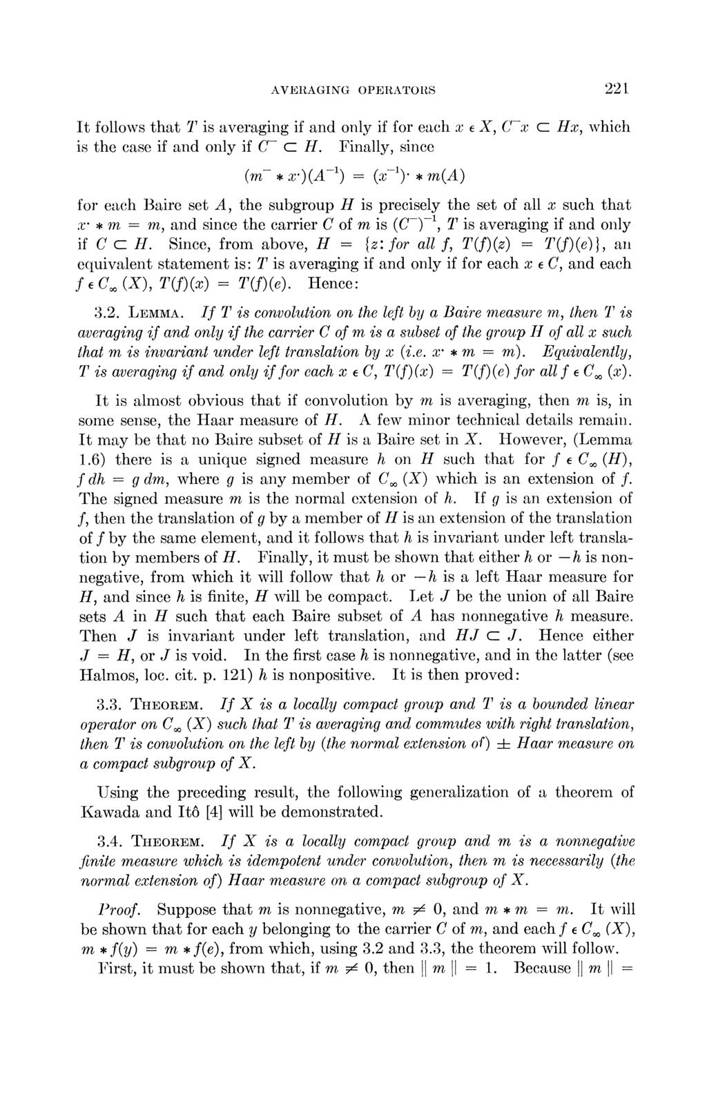 AVERAGING OPERATORS 221 It follows that T is averaging if and only if for each x is the ease if and only if C- c H Finally, since (m- x )(A -1) (x-l) m(a) X, C-x c Hx, which precisely the set of all