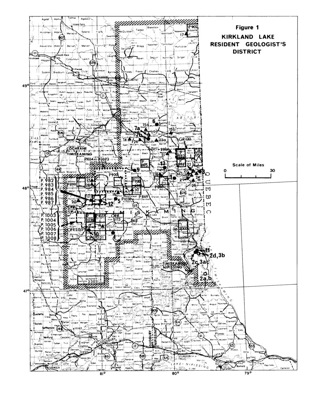 Figure 1 KIRKLAND LAKE RESIDENT GEOLOGIST'S DISTRICT CAWIbk ~ rblacksioc^\ ^M^/l Tolstol l B.
