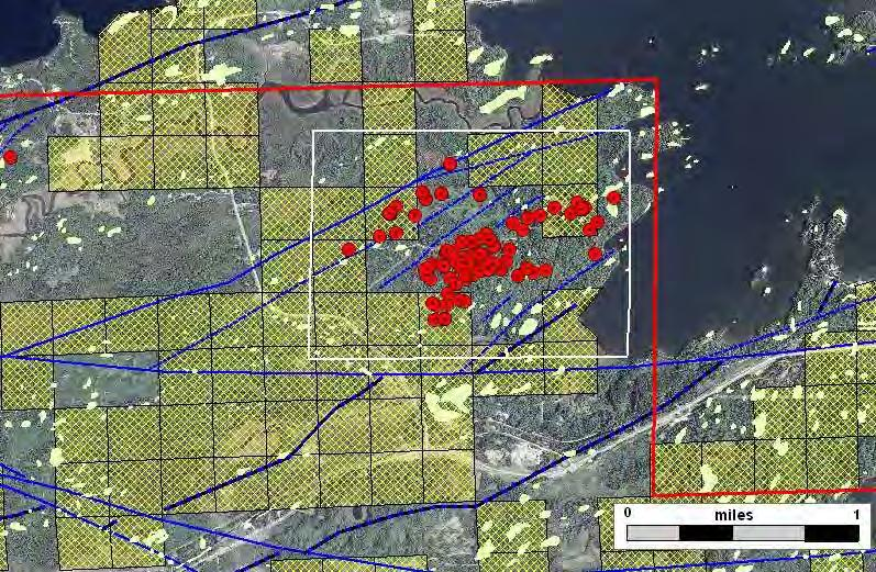 Raspberry Prospect Exploratory Bore Hole Terminated Lease Outcrop 2009 Lease Sale Prospect Boundary Faults and Shears