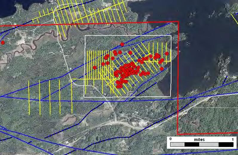 Raspberry Prospect Exploratory Bore Hole Geophysical Grid 2009 Lease Sale Prospect Boundary Faults and Shears