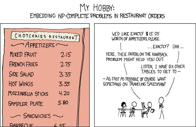 [General solutions give you a 50% tip.] Randall Munroe, xkcd (http://xkcd.com/287/) Reproduced under a Creative Commons Attribution-NonCommercial 2.5 License Copyright 2011 Jeff Erickson.