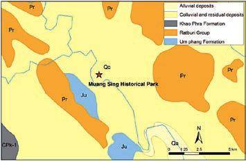 Stone Heritage of East and Southeast Asia Figure 21. Simplified geological map of Muang Sing area and the rough location of Carboniferous-Permian rock; a source rock of laterite. Figure 22.
