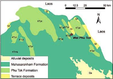 . Simplified geological map of part of Bueng Khan province and Wat Phu Tok area. 3.