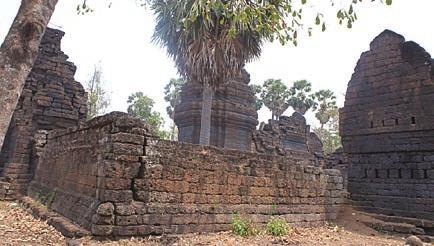 A temple in southeast Cambodia built by blocks of