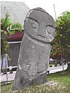 Pokekea Site in Napu Valley (left) and Tadulako Statue in Besoa Valley is made of granite and is 196 cm high (middle) (photos courtesy of Tubagus Dedi).