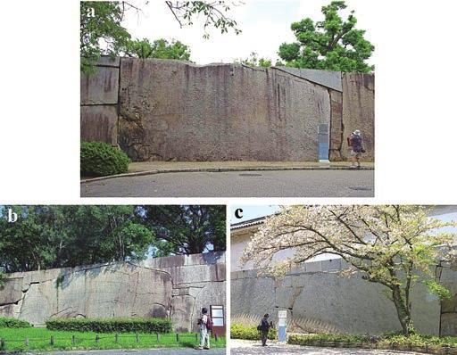 Stone Heritage of East and Southeast Asia Figure 18. Symbolic large stones of the Osaka Castle complex (photos by M. Fujita): (a) Octopus Stone at the courtyard of Sakura Gate is the largest stone.