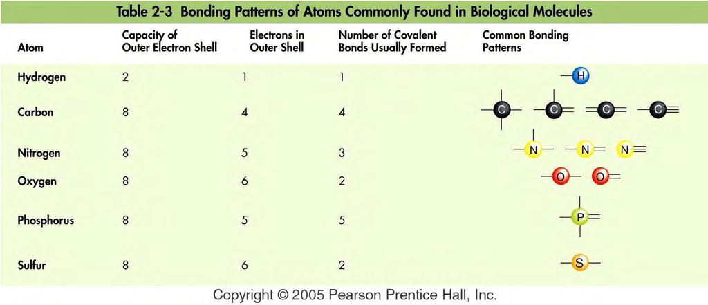Chemical Bonds involve unpaired e - Atoms of a given element tend to form as many bonds as unpaired e - in