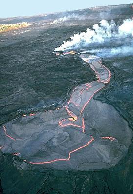 -Associated with shield volcanoes, rift zones, and