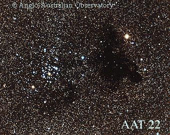 Large DN visible to naked eye as dark patches against the brighter background of the Milky Way.