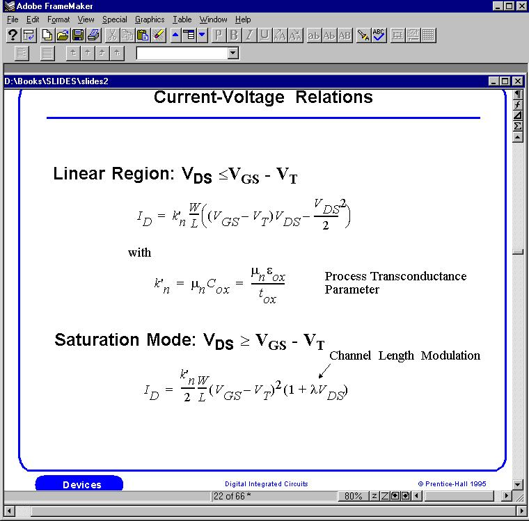 Current-Voltage Relations Long-Channel Device Cut-off (V GS V T <