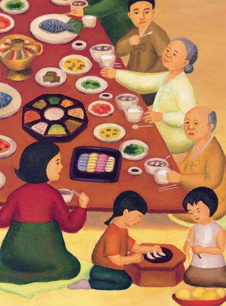 family and friends began to arrive, carrying pots and plates of food. One by one they took off their shoes, then entered the house. Grandmother was dressed in her most special occasion hanbok.