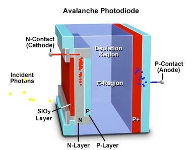 Avalanche Photodiodes: Gain = 10-1000 An avalanche photodiode is a silicon-based semiconductor containing a pn junction consisting of a positively doped p region and a negatively doped n region