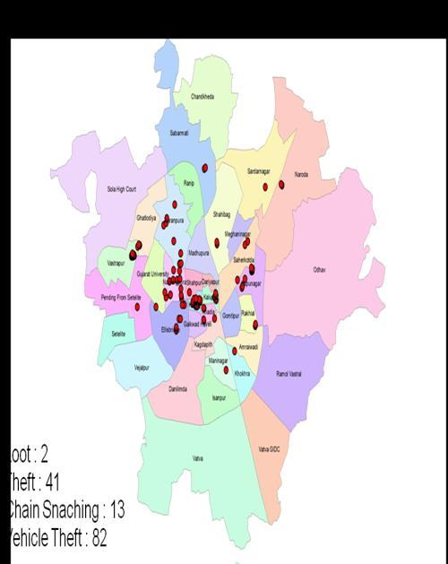 Following are few maps showing the results of Vejalpur Police Station crime mapping. Depending upon requirements, maps can be generated for study and analysis.