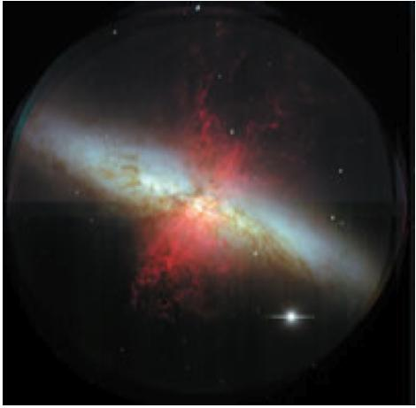 .. the energy from the very newest star formation comes out in the infrared; from young regions, in blue light; and from old regions in red light. Starburst galaxies.