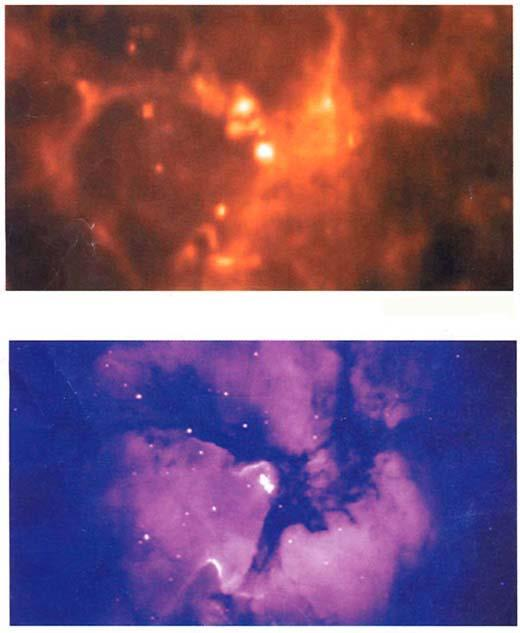 Here are two images of the Triffid Nebula, one in the infrared (top) and the other in the visible part of the spectrum (bottom).