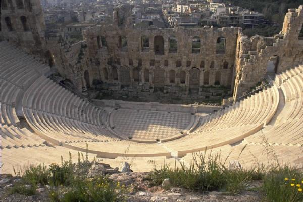 "The centerpiece of the theatre was the orchestra, or ""dancing place"", a large circular or rectangular area."