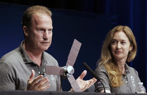 (AP Photo/Richard Vogel) A 1/4 scale model size of NASA's solar-powered Juno expected to reach Jupiter and go into orbit around the Rick Nybakken, Juno project