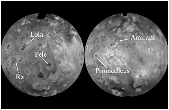 The Voyager 1 fly-by Came within 21,000 km of Io s surface Absolutely no impact craters Extremely colorful surface A total of 8 very active volcanoes Remarkable insight Peale, Cassen & Reynolds