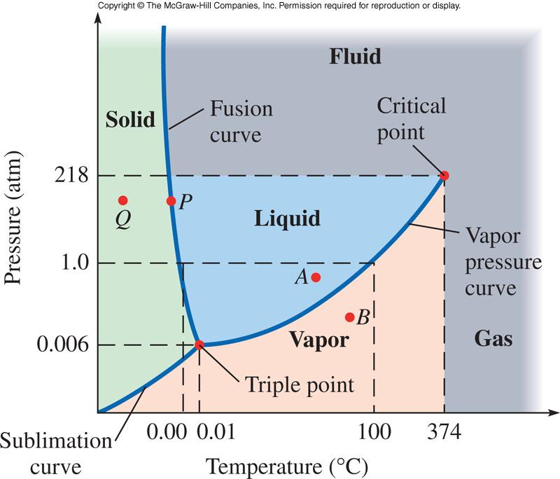 7 Phase Diagram The critical point marks the end of the vapor pressure curve. A path around this point (i.e. the path does not cross the curve) does not result in a phase transition.