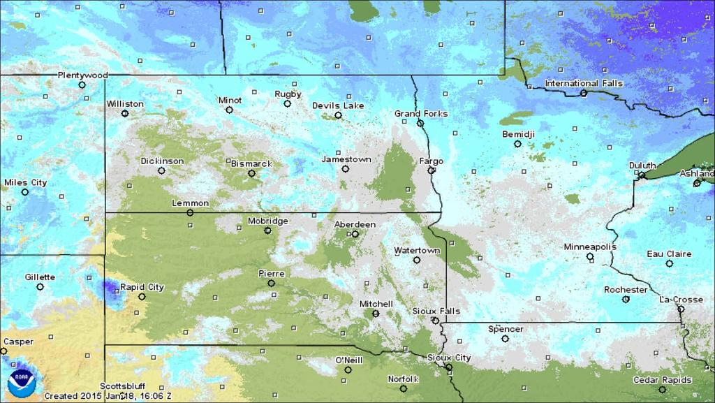 Snow Depth As of 10 PM CST