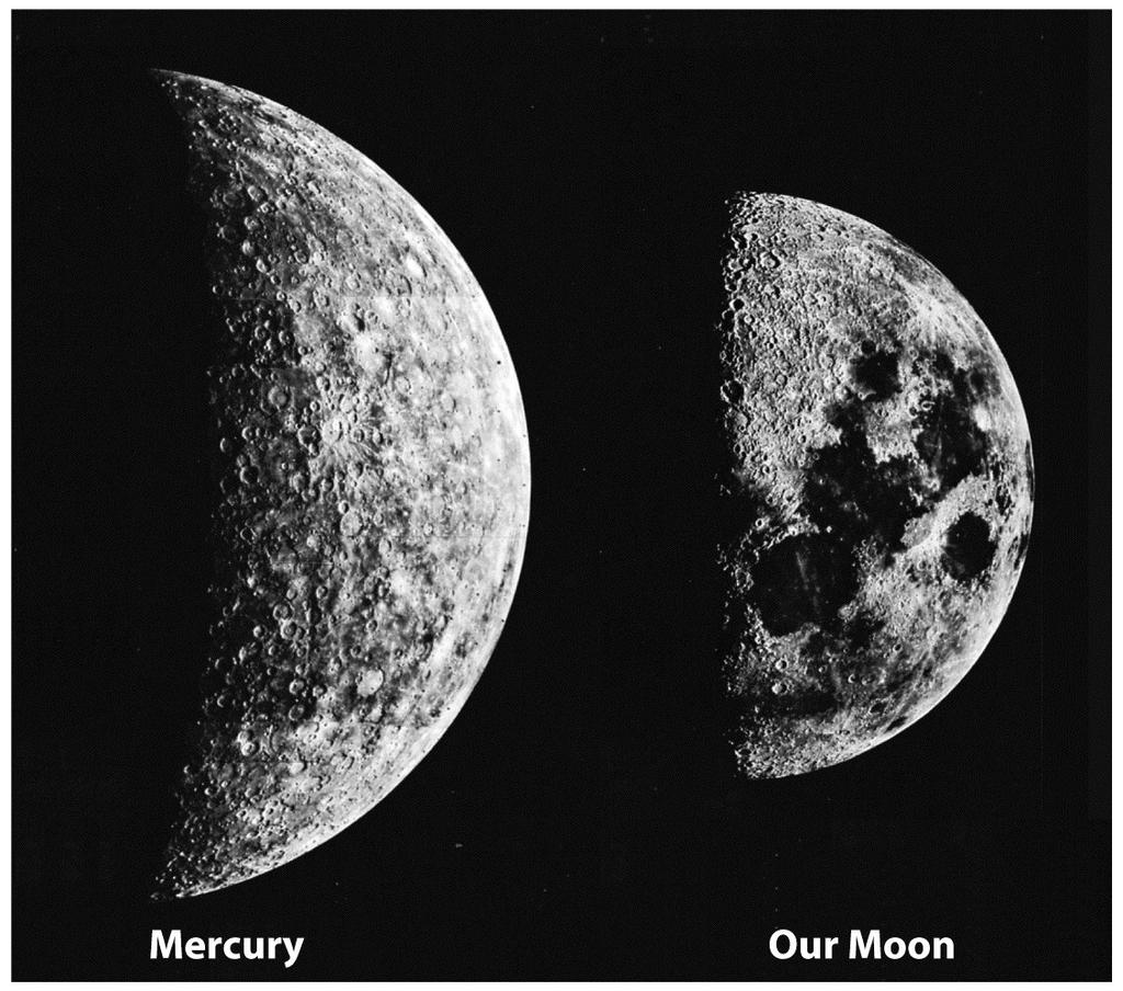 Mercury s Surface! Mercury is similar to the Moon! A heavily cratered surface!