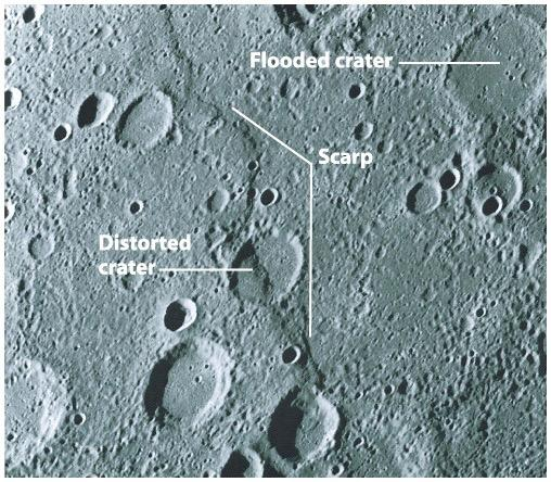 ! Mercury s surface is cracked! Huge cliffs called scarps! Kilometers high!