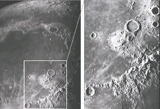The Lunar Surface Large, dark featureless areas: marias or seas. Lighter areas at higher elevation: highlands.