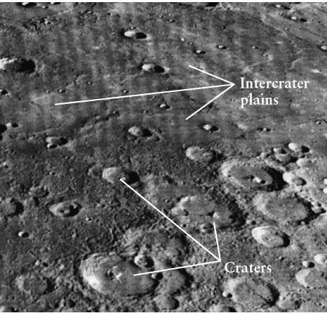 Mercury: Heavily cratered surface Less dense cratering