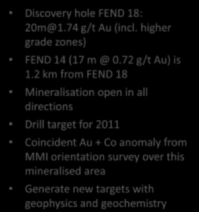 Blue Thunder Gold Project Discovery hole FEND 18: 20m@1.74 g/t Au (incl.