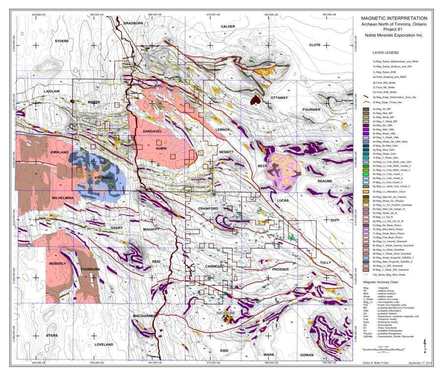 PROJECT 81 PROPERTY GEOLOGY MAP SHOWING KIDD CREEK TYPE ALTERATION ZONES