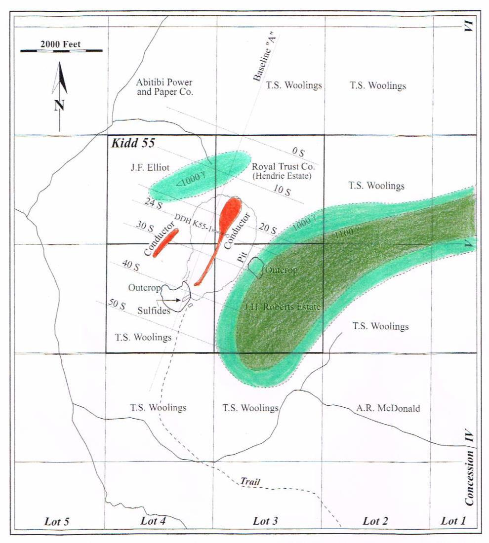 MAP SHOWING KIDD CREEK DISCOVERY HOLE EM CONDUCTORS & MAG ANOMALY EM