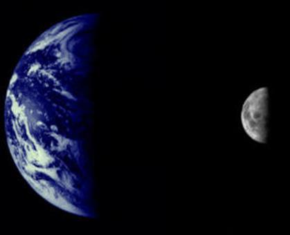 Figure 1. Earth and Moon: a double planet. An image of the Earth and Moon, both at quarter phase, taken from the Voyager interplanetary spacecraft.