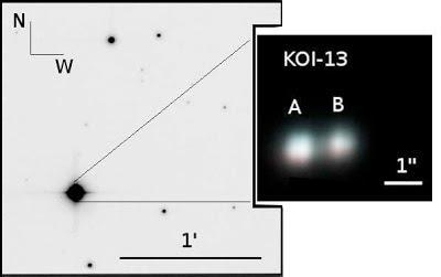 KOI-13 The KOI-13 system is a pair of A-type White Dwarf stars located 1630 LY from Earth.