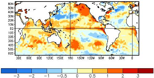 1. Important Global Climate Factors 1.1 Sea Surface Temperatures over the Pacific Ocean The mean global sea surface temperatures (SST) anomalies (Fig.