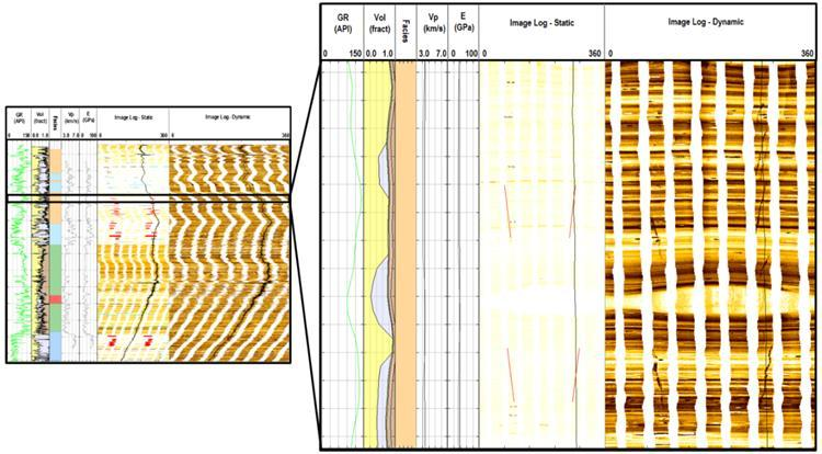 5 Figure 4: Example of drilling induced tensile fractures (red lines) observed in image logs from Well A. Figure 5: A comparison of the log based and inversion based geomechanical models at Well A.