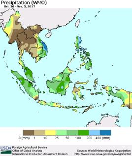 2] Rainfall Figure 2 shows actual rainfall and rainfall departures for the period 30/10/17-05/11/17 Generally moderate falls occurred over the southern Central and West Java and most of the southern