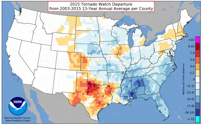 2015 TORNADO WATCH COUNTS