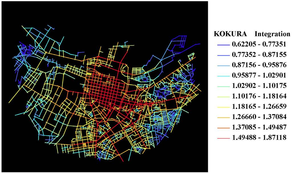 J. N. Liu et al. Figure 3. Kokura axial map colored with global integration. Figure 4. Kurosaki axial map colored with global integration. Table 1. The global integration of Kokura and Kurosaki.