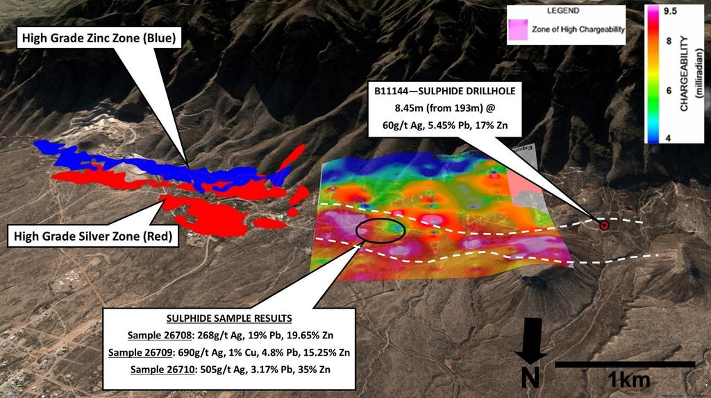 Figure 1. Looking south towards the Sierra Mojada deposit and the location of the new sulphide mineralization.