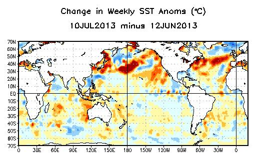 Weekly SST Departures ( o C) for the Last Four Weeks During