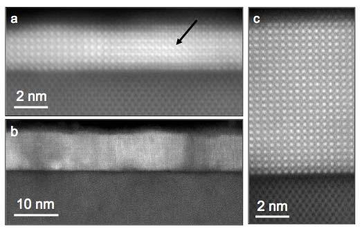 A C B Fig. S4. Cross-sectional annular dark field (ADF) scanning transmission electron microscopy (STEM) images of SrTiO 3 films grown on (001) Si.